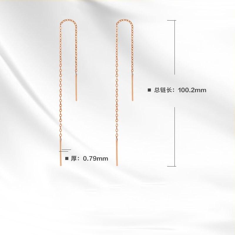 Best Gift Solid 18K Rose Gold 100mm Length Dangle Earrings