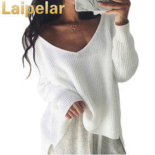Laipelar Sexy off shoulder split knitted sweater Women brand black pullovers knitwear Autumn winter 2018 white jumper pull femme