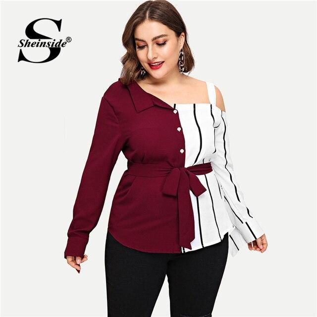 Sheinside Plus Size Striped Panel Open Shoulder Women Blouse Belted Long Sleeve Ladies Tops Elegant Asymmetrical Neck Blouses