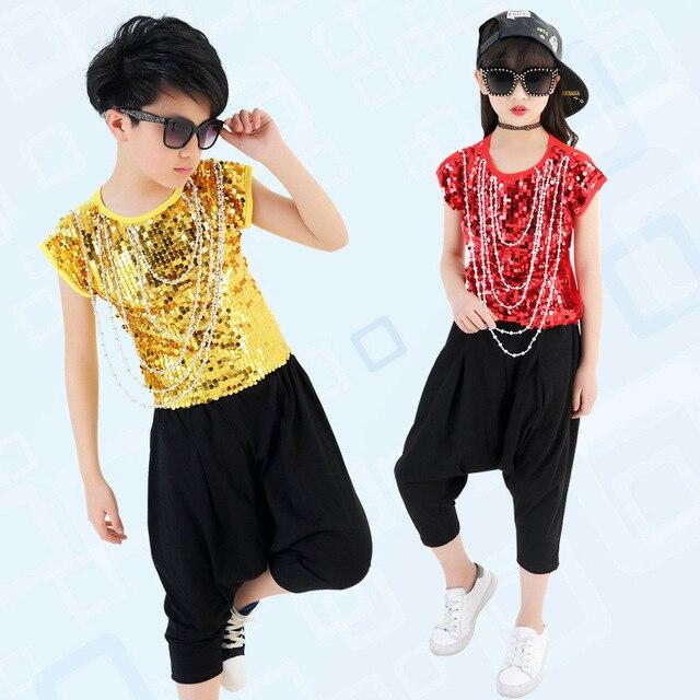 Niños lentejuelas baile Hip Hop Jazz Dance trajes camiseta Tops Harem pantalones  para Niñas Ropa de d0721ac6206