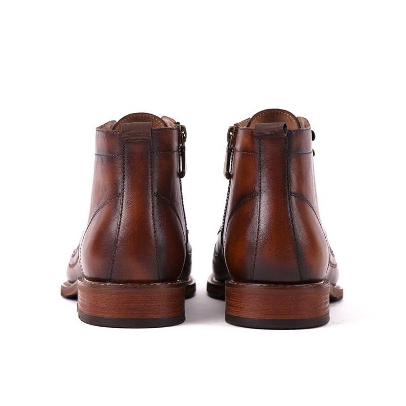 top Cheville Haute Plein Cuir Véritable Martin Hommes Main Designer Ss235 Noir En Haute Air De Cowboy marron Chaussures Qualité Bout Rond Bottes Homme Équitation DH2eYWEI9