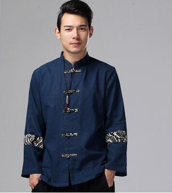 Chinois traditionnel oriental vêtements veste automne haut manches longues kungfu haut avec bouton tangzhuang chemise en lin