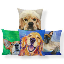 Golden Retriever Pug Cuscino Cavalier King Charles Spaniel Cuscino Gatto Siamese Marocco Shopping Pisolino Coperte e Plaid Coperture per Cuscini 45*45 di Lino(China)