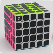 ZCUBE 5x5x5 Carbon Fiber Sticker Speed ​​Magic Cube Pussel Toy Barn Kids Gift Toy Ungdom Vuxen Instruktion