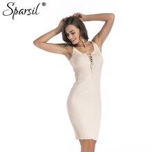 Sparsil Women font b 2018 b font Sexy Lace Up Knitting font b Dress b font