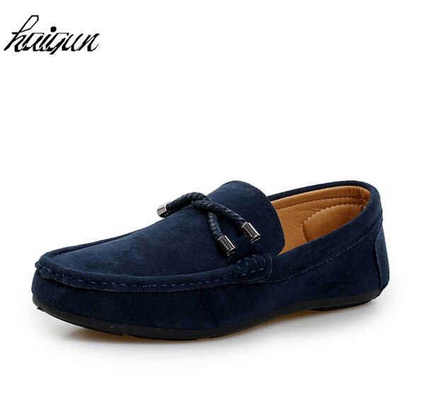 Plus Size 39-45 Cow   Suede   Loafers Men Summer Blue Genuine   Leather   Driving Soft Moccasins Gommino Slip on Men Loafer Flats