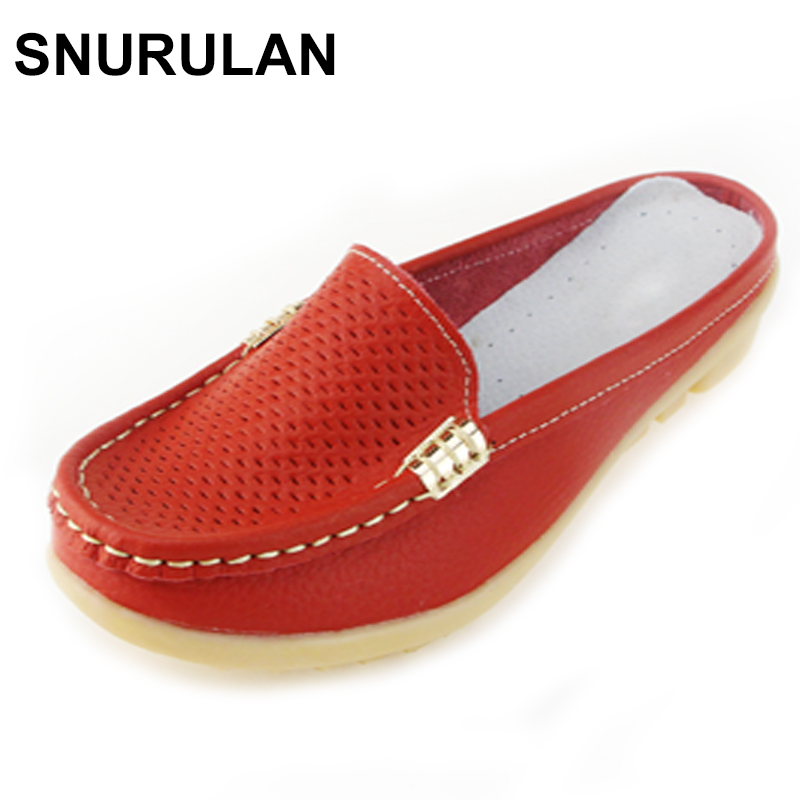 SNURULAN New arrival solid summer women slippers genuine leather casual flip flops women flats shoes slip on flats clogs shoes summer women casual jelly shoes beach slippers breathable waterproof clogs for women hollow slippers flip flops shoes mule clogs