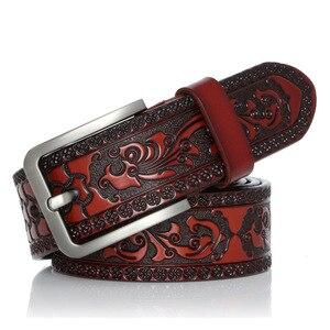 Image 3 - Cinturón clásico de cuero de vaca para hombre, cinturón masculino de alta calidad con hebilla de Pin, a la moda, para Vaqueros