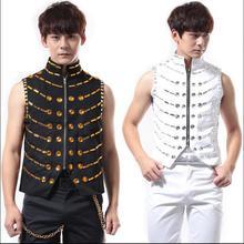 M-5XL!!! 2017  Punk rock club bar DJ shirt DS han edition clothing bead piece ma3 jia3  The singer's clothing