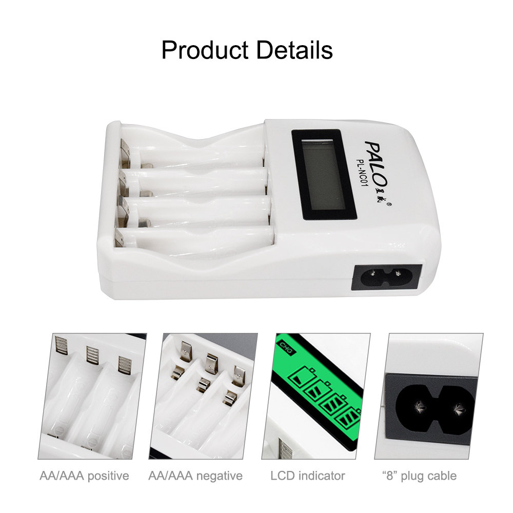 PALO 4 Slots Smart Intelligent Battery Charger Fast Charge For 1 2V AA /  AAA NiCd NiMh Rechargeable Battery LCD Display