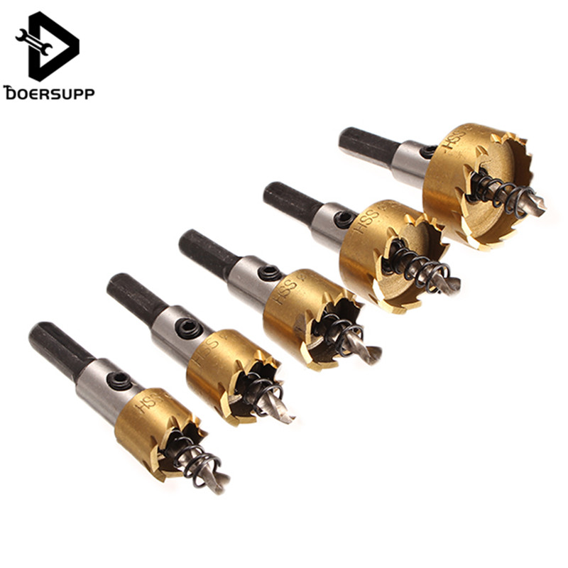 Doersupp 5PCS HSS Drill Bit Hole Saw Set Stainless Steel Metal Alloy Wood Metal Drilling Holw Saw Cutter For Home Tools 16-30mm new arrival 5pcs set hss drill bit hole saw set stainless steel metal alloy cutter 16 30mm wholesale price