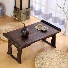 Твердый деревянный чайный столик под старину складные ножки прямоугольные татами матрас окно раскладная кровать компьютерный стол сжигание складной стол