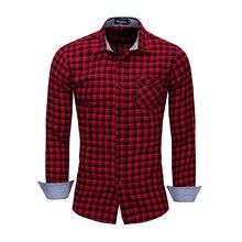 Dos homens Camisa Xadrez 2019 Novo Camisa Xadrez de Algodão de Manga Comprida Business Casual Camisa de Manga Comprida Xadrez Top