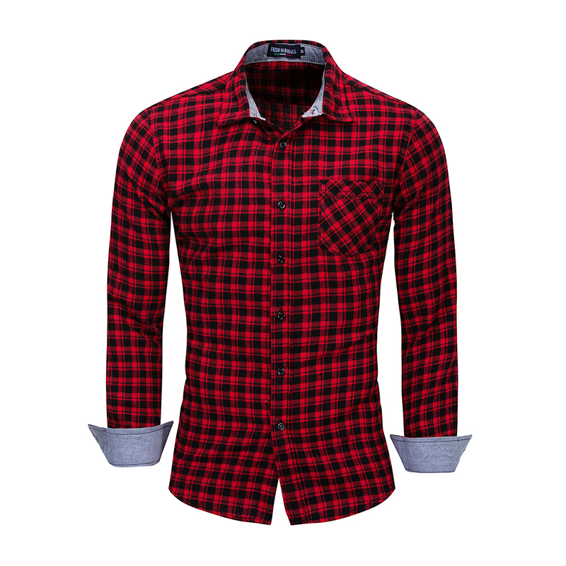 Mens Plaid Shirt 2019 New Long Sleeve Cotton Casual Business Top