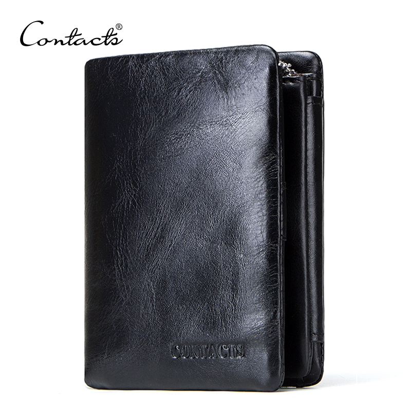 CONTACT'S Genuine Cowhide Leather Men Wallet Trifold Wallets Fashion Design Brand Purse ID Card Holder With Zipper Coin Pocket 探索科学百科 discovery education(中阶)2级a3·泰坦尼克与冰山