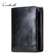 CONTACT S Genuine Cowhide Leather Men Wallet Trifold Wallets Fashion Design Brand Purse ID Card Holder