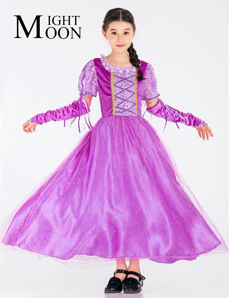 MOONIGHT Girls Rapunzel Princess Dresses Kids Cosplay Costume Party Dress Purple Children Cinderella Sofia Dress Clothing