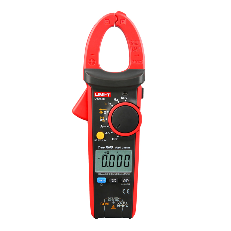 UNI-T UT216C 600A True RMS Digital Clamp Meters Auto Range Multimeters Frequency Capacitance Temperature & NCV Test Megohmmeter