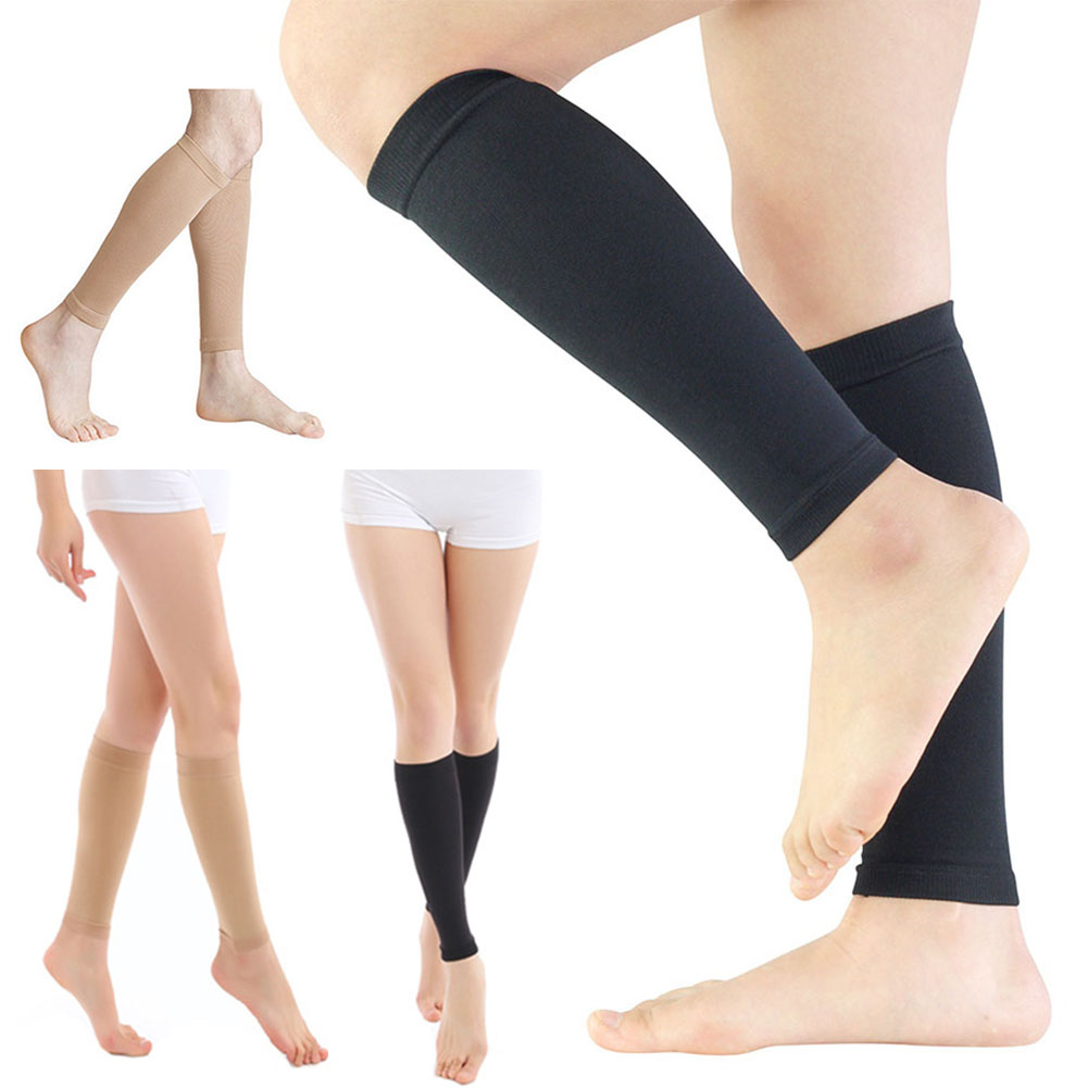 Unisex Compression Leg Sleeve Relieve Varicose Veins Circulation Sport Legwarmer Black Footless Compression Socks For Running