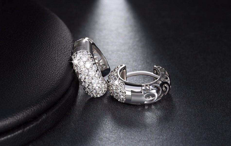 Circle Austrian Clear Cz Earring For Women Fashion Party Elegant Stud Earrings Jewelry