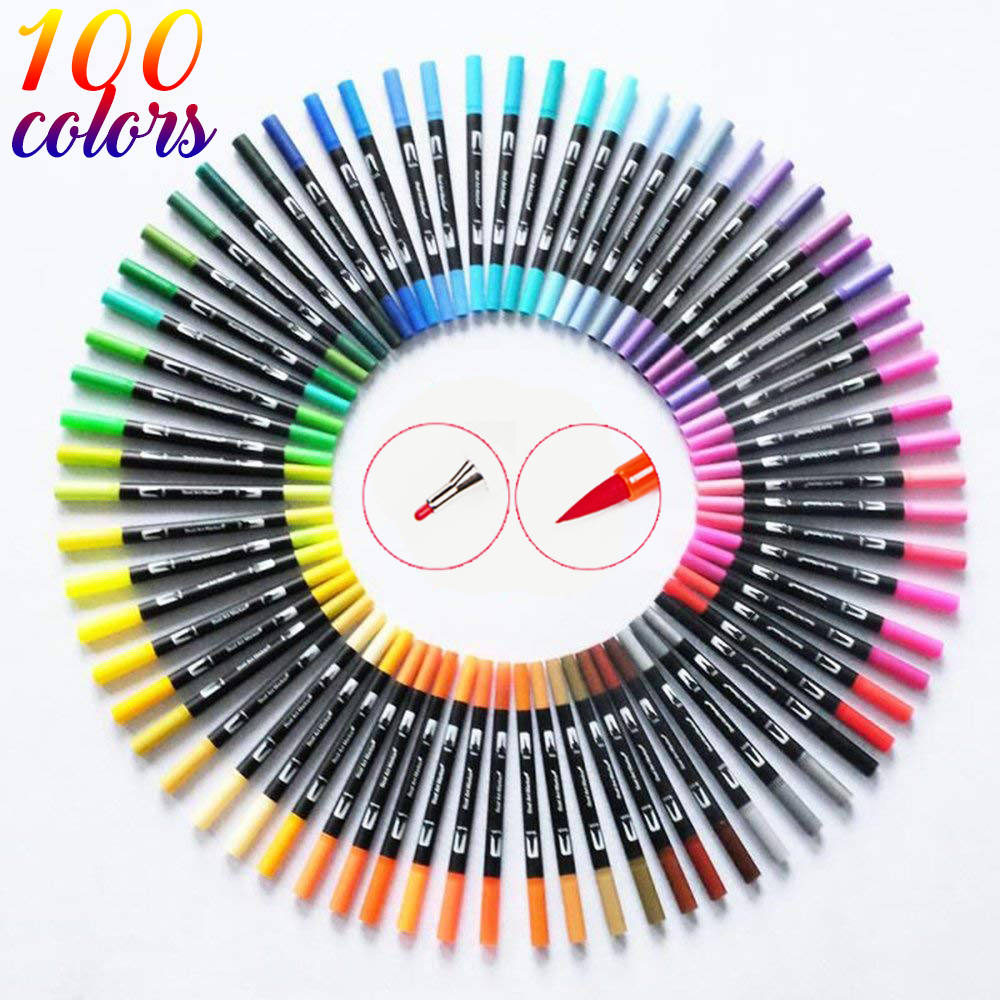 120 Color Dual Brush Art Markers Pen Fine Tip and Brush Tip Great for Bullet Journals Adult Coloring Books Calligraphy Lettering