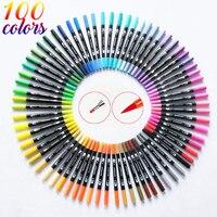 120 цветная двойная щетка маркер для рисования тонкий наконечник и наконечник отлично подходит для пулевых журналов раскраски для взрослых ...