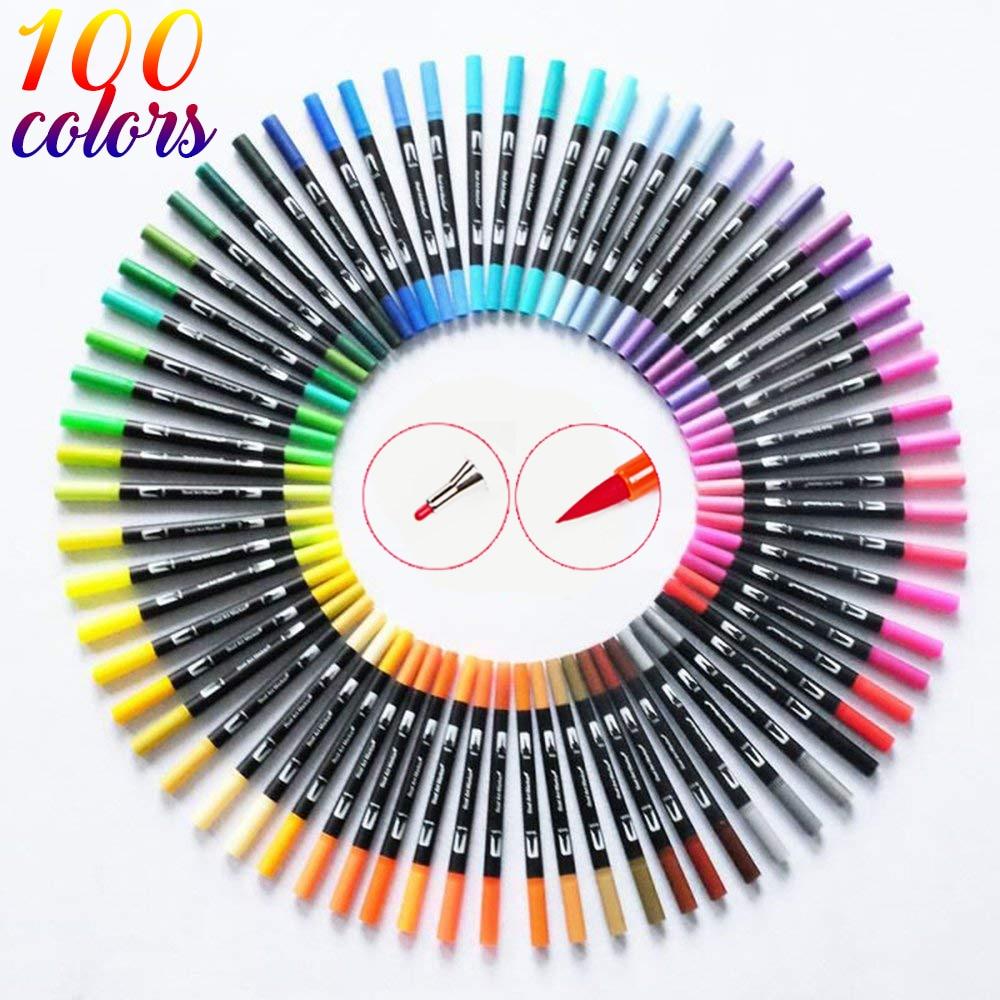 120 colores doble pincel arte rotuladores punta fina y Punta de pincel ideal para revistas de bala libros para colorear adultos caligrafía letras