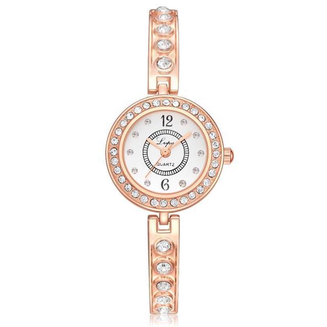 Kol Saati Luxury Women Bracelet Watch Stainless Steel Rhinestone Quartz WristWat