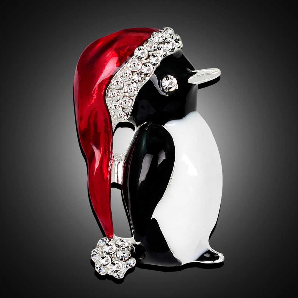 Urocza emalia dżetów piłka czerwony kapelusz pingwin świąteczna broszka pingwin broszki świąteczne prezenty na nowy rok
