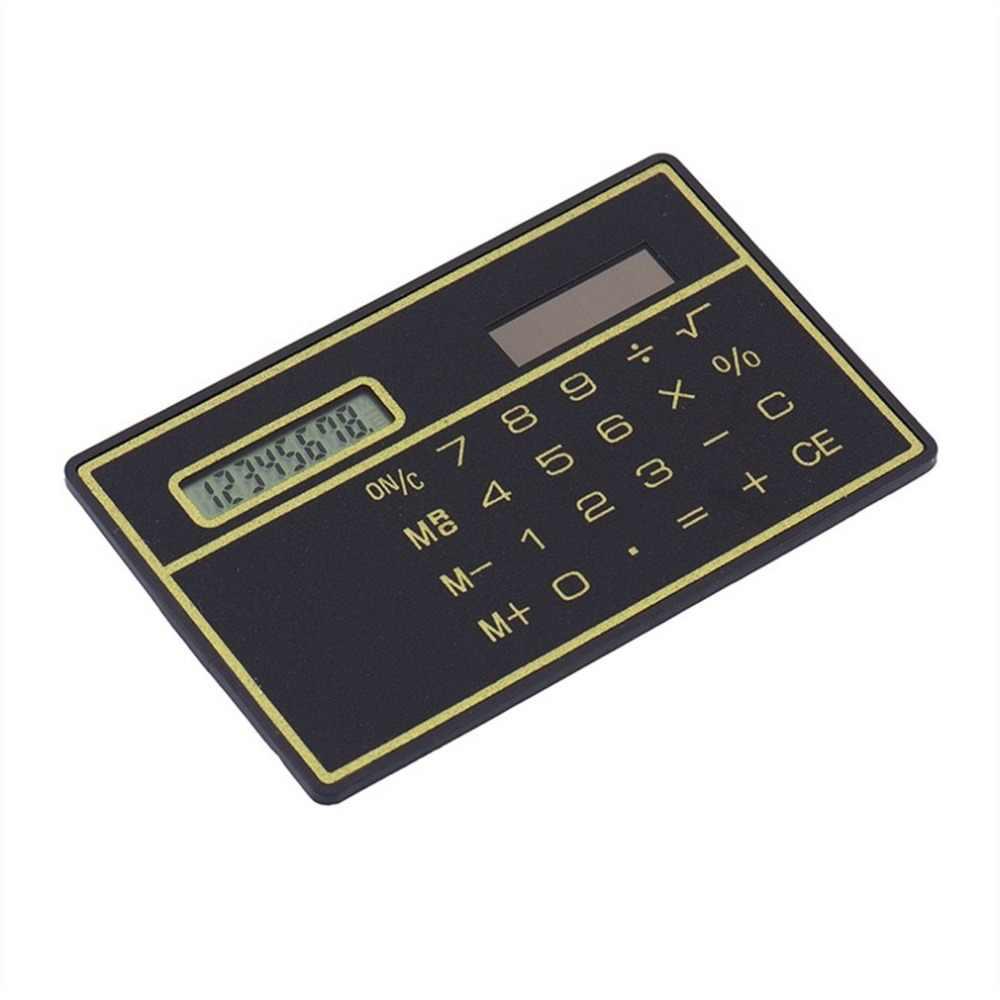 8 Digit Ultra Tipis Tenaga Surya Kalkulator dengan Layar Sentuh Kartu Kredit Desain Portabel Mini Kalkulator untuk Sekolah Bisnis