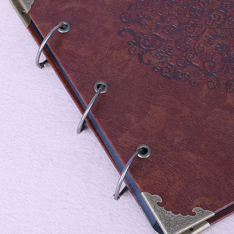 Vintage Three-Ring Binder Picture Photo Album Heart-Shaped Leather Cover Scrapbook Diy Wedding Guest Book Family Memory Book (7)