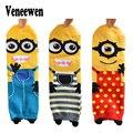3 Par Otoño Invierno catoon Calcetines Calcetines de Las Mujeres de Moda Lindo Del Calcetín Del algodón 3D Personitas Amarillas Serie Calcetines de las mujeres