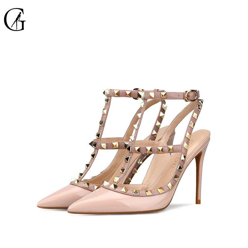 GOXEOU32 Stkehidba женская обувь Острый носок и высокий каблук Модные женские туфли Туфли-лодочки с заклепками из натуральной кожи Ремешок на щикол...