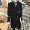2016 winter new men's fashion leisure trench coat Men's Printing long trench coat jackets, Free shipping