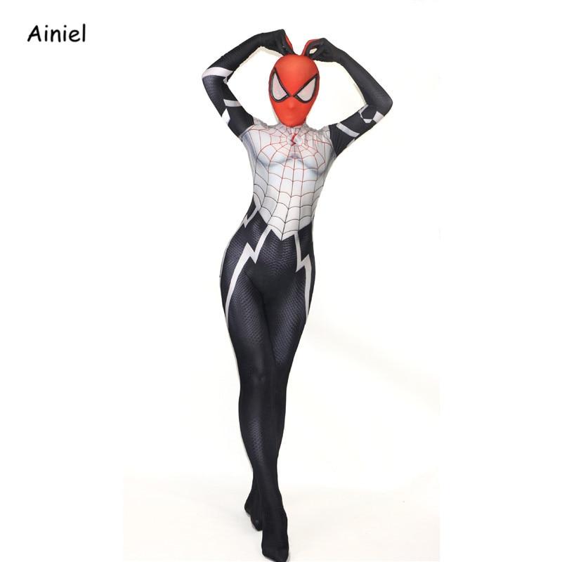 Ainiel Silk Cindy Moon SpiderGirl Costume Spandex Lady Woman Kids Zentai Suit for Cosplay Spiderman Halloween