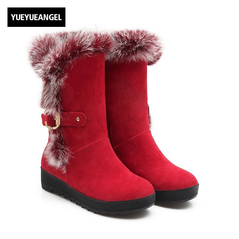 New Fashion Women Shoes Buxkle Faux Suede Snow Boots Round Toe For Women Winter Mid Calf Boots Warm Plush Ladies Wedges Ren riding boots chunky heels platform faux pu leather round toe mid calf boots fashion cross straps 2017 new hot woman shoes