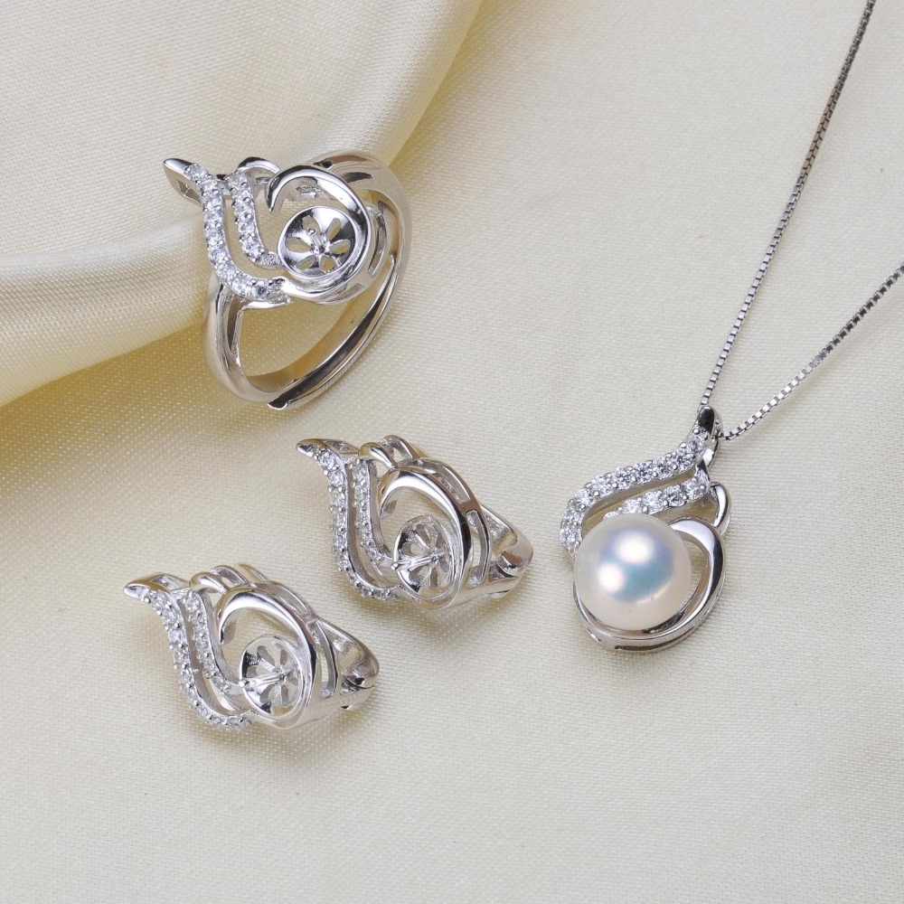 925 Silver Fashion Pearl Pendant Ring Earrings Set Mounts Findings Beautiful Jewelry Set Parts Fittings Women's Accessories