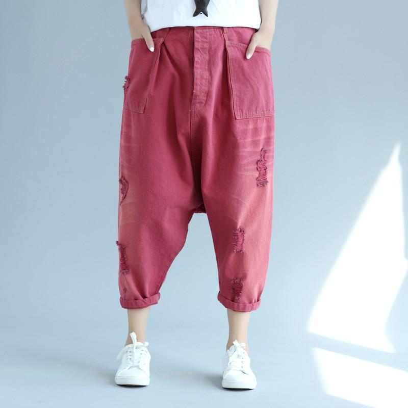 Women New Baggy Harem Denim Pants Hip Hop Drop Crotch jeans Washed calf-Length B