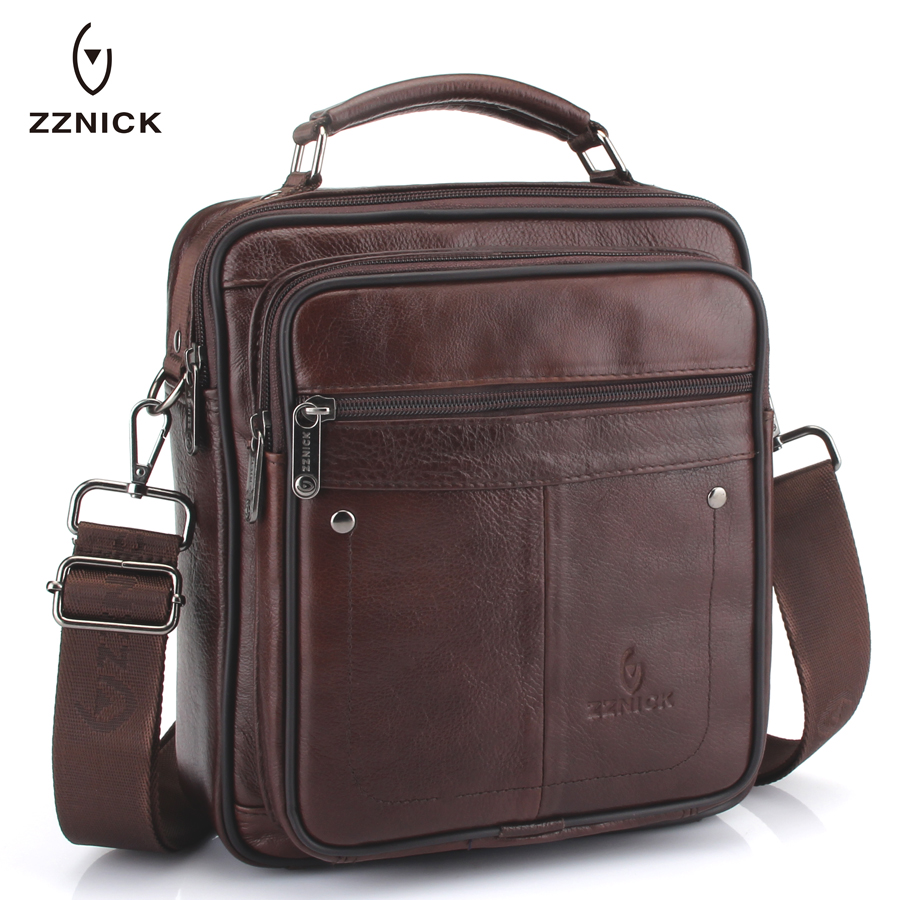 ZZNICK men genuine leather bag messenger bag man crossbody shoulder bag business tote briefcases cow leather brand handbags zznick 2018 new men s messenger bag men genuine leather business bags laptop tote briefcases crossbody bag shoulder handbags