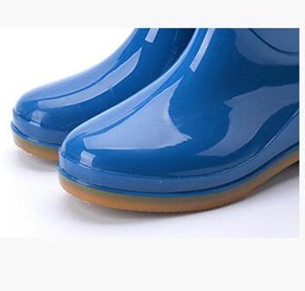 Rouroliu Women Ankle Warm Rainboots Female Winter Platform Boots Autumn PVC Waterproof Water Shoes Wellies Woman FR24