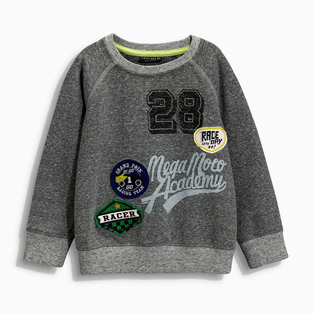 British Style Boy Kids Cotton Printed Sweater Gray 2017 Autumn Children 's Fleece Fashion New Sweater Five Size Hot Sale