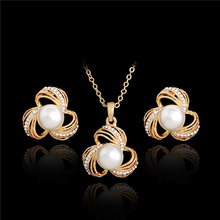 MISANANRYNE Bridal Party Jewelry Sets Flower Simulated Pearl Necklace Chain Necklace Earrings Gold color Jewelry Set