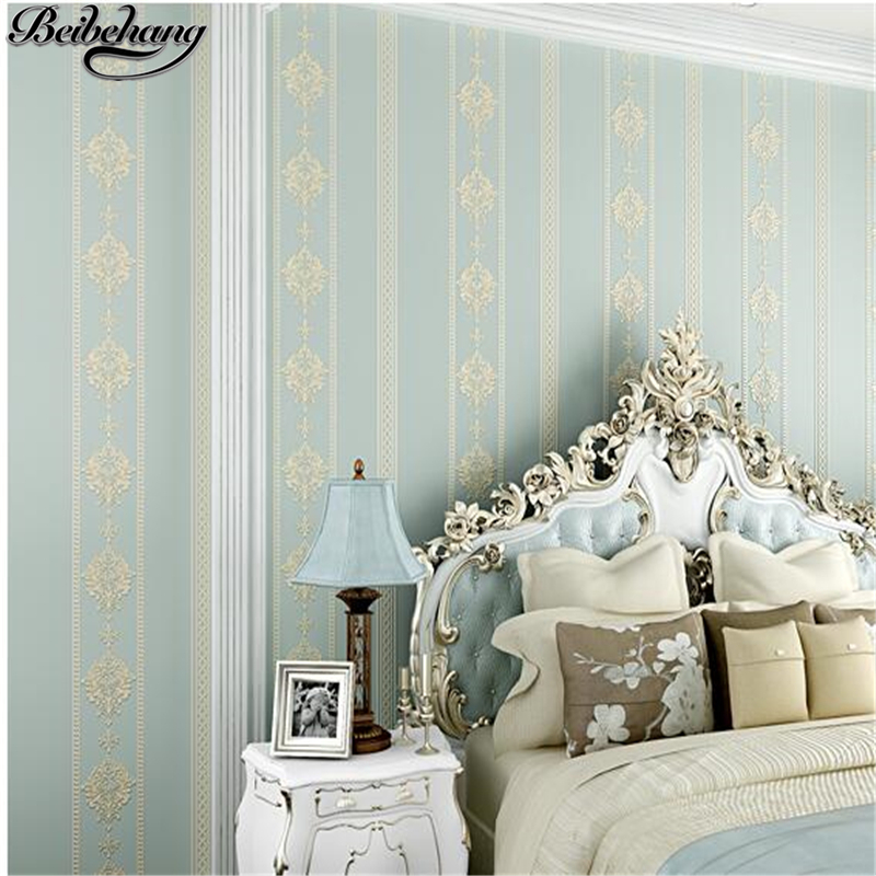 beibehang Non-woven three-dimensional relief vertical striped wallpaper warm bedroom living room Jane European TV backdrop wall beibehang wallpaper 3d three dimensional relief korean garden flower large open living room bedroom full shop wallpaper backdrop