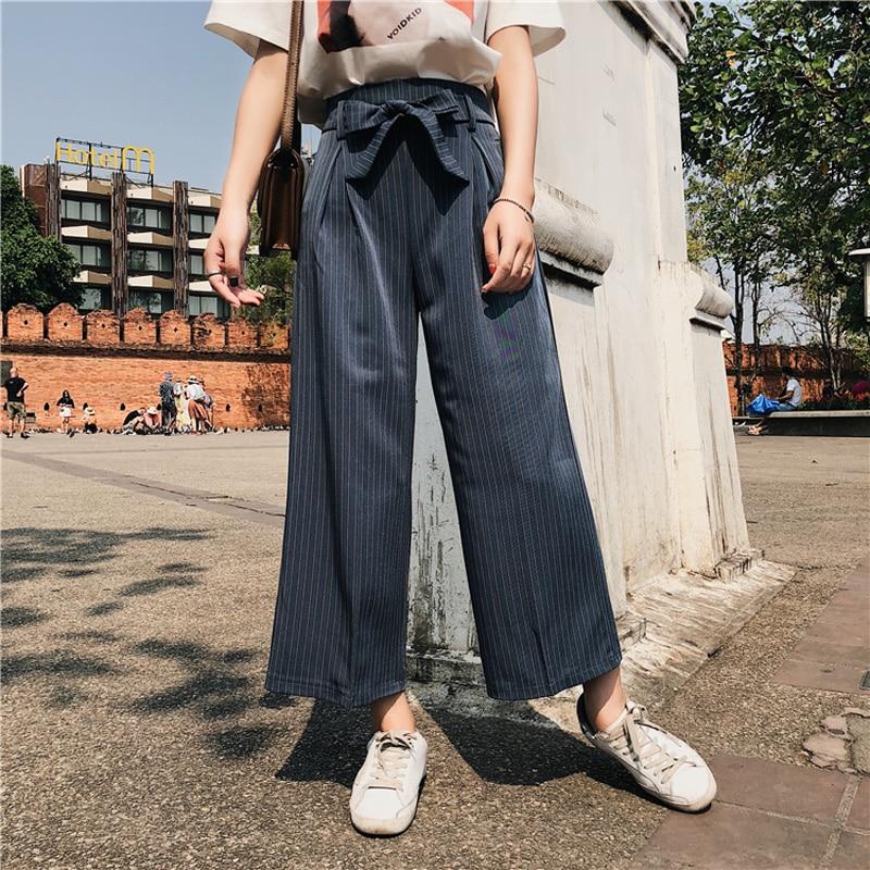 BGTEEVER Stripe   Wide     Leg     Pants   for Women Spring High Waist Bow Femme Trousers Casual Bottoms Pantalones Mujer