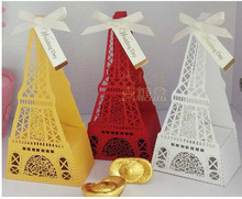 Free Shipping Exquisite Classic Theme Red Cut-out Eiffel Tower Wedding Favor Holder/Candy Box/Wedding Box (Set of 200)