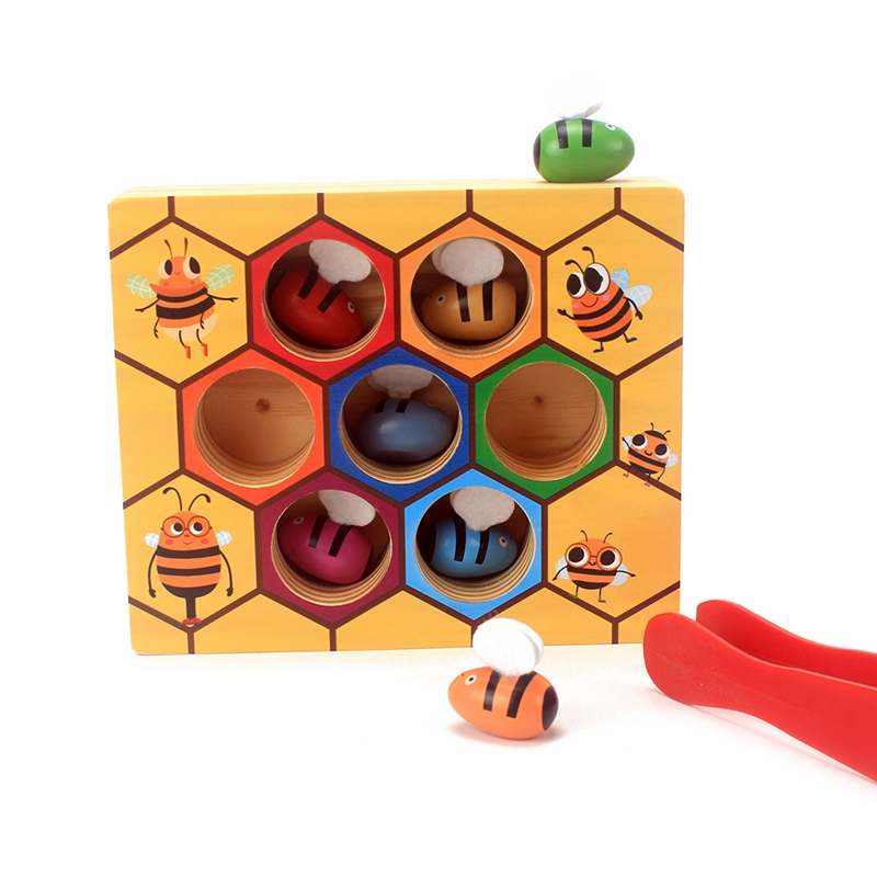Montessori Learning Material Wooden Blocks Toys Catch Bee Toy Baby Early Childhood Education Hand Grasp Training Bee Board Games montessori education wooden toys four color game color matching early child kids education learning toys building blocks