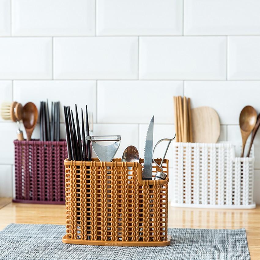 Retro Chopsticks Cage Knife Spoon Fork Holder Drain Hollow Box Punch-free Tableware Rack Home Kitchen Utensils Storage Organizer