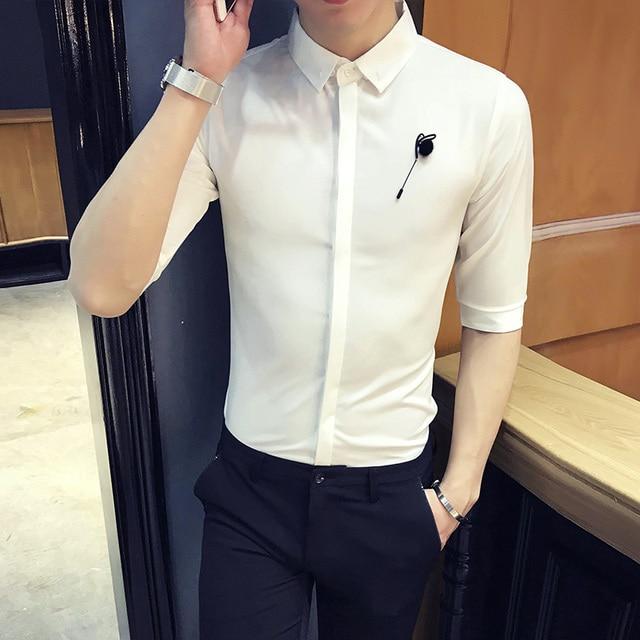 British Style Tuxedo Shirt 2018 Summer Slim Fit Half Sleeve Solid Dress Shirts Men Korean Simple