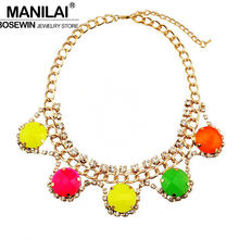 MANILAI Fashion Circular Collars Choker Necklaces Neon Candy Resins Beads Cross Rhinestones Pendants Stament Jewelry CE869(China)