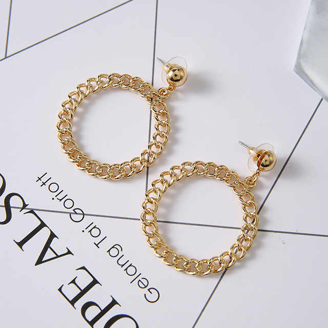 Fashion Chain Circle Hollowing Earrings For Women Temperament Simple Geometric Round Earrings Exaggerated Jewelry